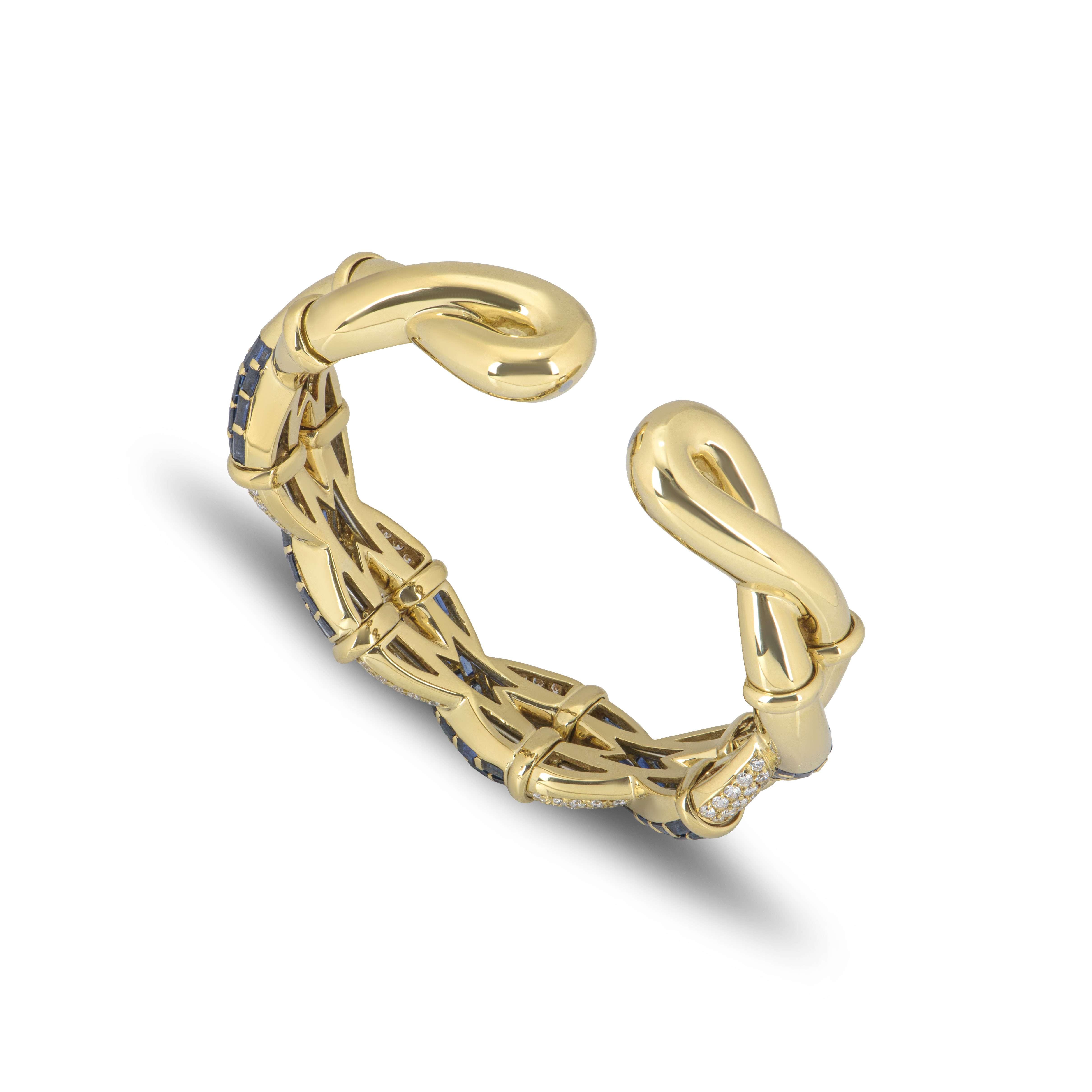 Yellow Gold Sapphire and Diamond Cuff Bangle